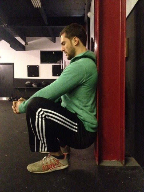 Deep wall squat mobility